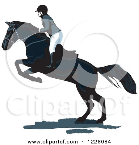 Clipart of an Equestrian on a Leaping Horse - Royalty Free Vector Illustration by David Rey
