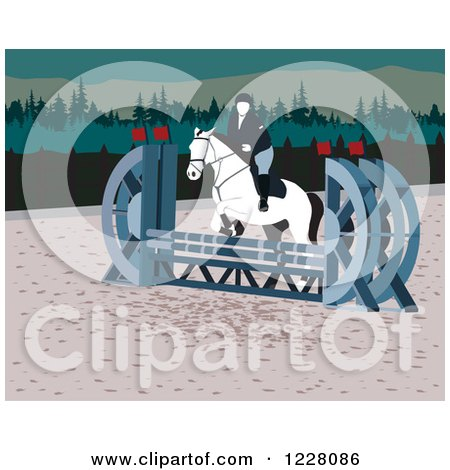 Clipart of a Person on a Leaping Horse in an Agility Course - Royalty Free Vector Illustration by David Rey