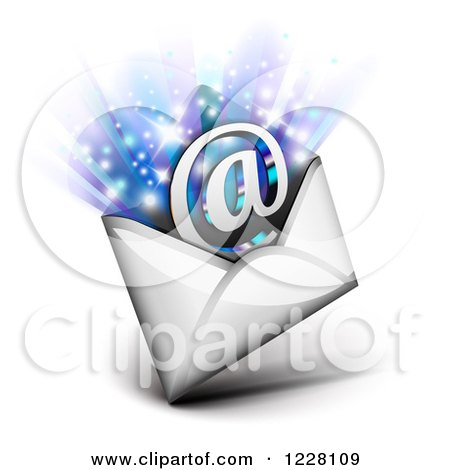 Clipart of an Email Envelope with an Arobase and Rays - Royalty Free Vector Illustration by Oligo