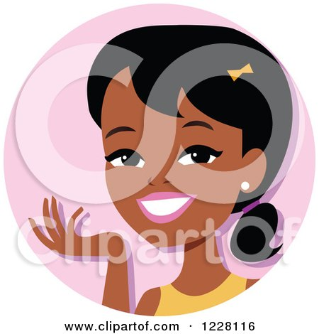 Clipart of a Young Black Woman Avatar Smiling and Gesturing - Royalty Free Vector Illustration by Monica