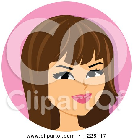 Clipart of a Skeptical Brunette Woman Avatar - Royalty Free Vector Illustration by Monica