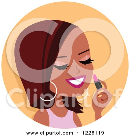Clipart of a Black Woman Avatar Applying Lipstick - Royalty Free Vector Illustration by Monica