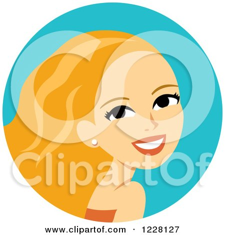Clipart of a Young Blond Woman Avatar with Long Hair - Royalty Free Vector Illustration by Monica