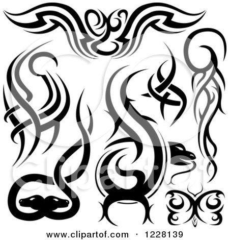 Clipart of Black and White Tribal Tattoo Designs - Royalty Free ...