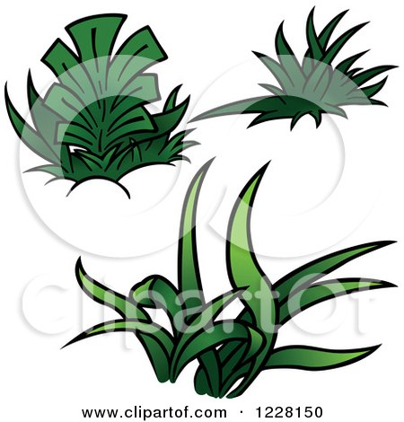 Clipart of Green Grass and Plants - Royalty Free Vector Illustration by dero