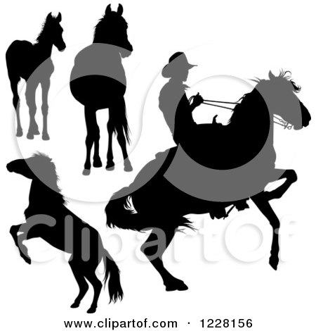 Clipart of a Silhouetted Cowboy and Horses - Royalty Free Vector Illustration by dero
