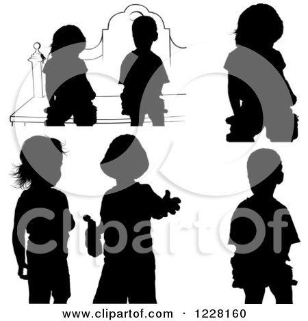 Clipart of Silhouetted Children - Royalty Free Vector Illustration by dero