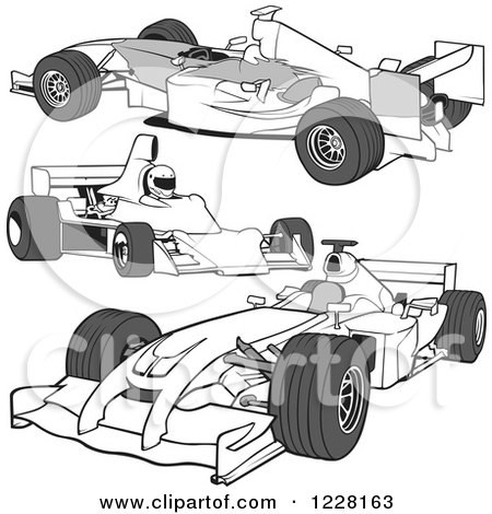 Clipart Of A Grayscale Forumula One Race Car And Driver