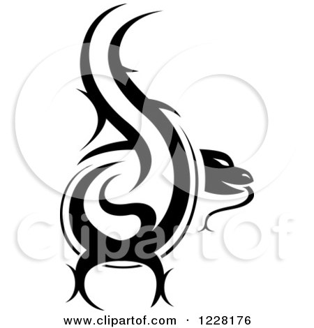 Clipart of a Black and White Tribal Lizard Tattoo Design - Royalty Free Vector Illustration by dero