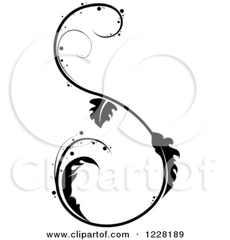 Clipart of a Black and White Floral S Scroll Design - Royalty Free Vector Illustration by dero