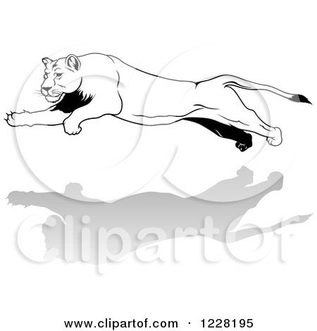 Clipart of a Black and White Leaping Lioness - Royalty Free Vector Illustration by dero