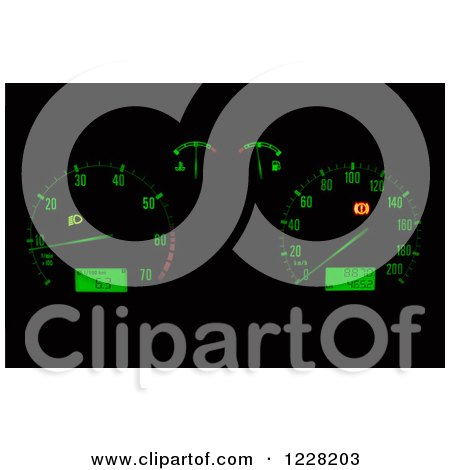 Clipart of a Green Illuminated Car Dashboard - Royalty Free Vector Illustration by dero