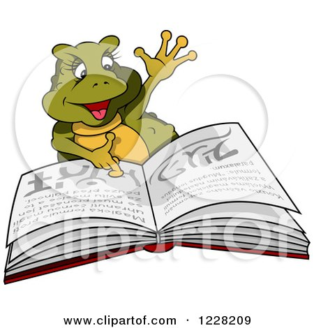 Clipart of a Female Frog Reading a Book - Royalty Free Vector Illustration by dero