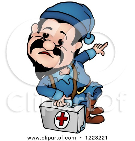 Clipart of a Dwarf Paramedic - Royalty Free Vector Illustration by dero