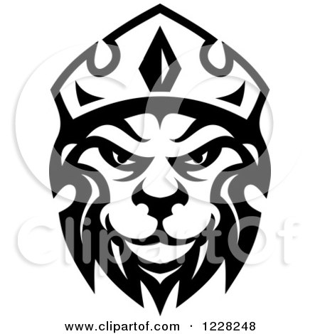 Clipart of a Black and White Crowned Lion 2 - Royalty Free Vector Illustration by Vector Tradition SM
