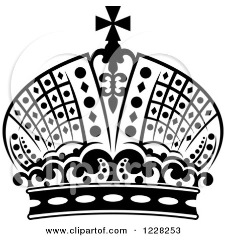 Clipart of a Black and White Crown 18 - Royalty Free Vector Illustration by Vector Tradition SM