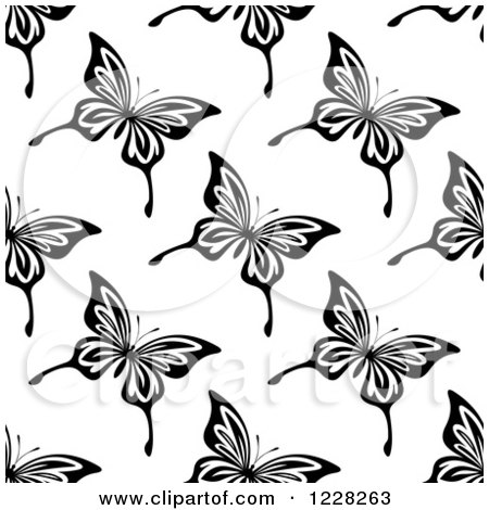 Clipart of a Seamless Black and White Butterfly Background Pattern - Royalty Free Vector Illustration by Vector Tradition SM