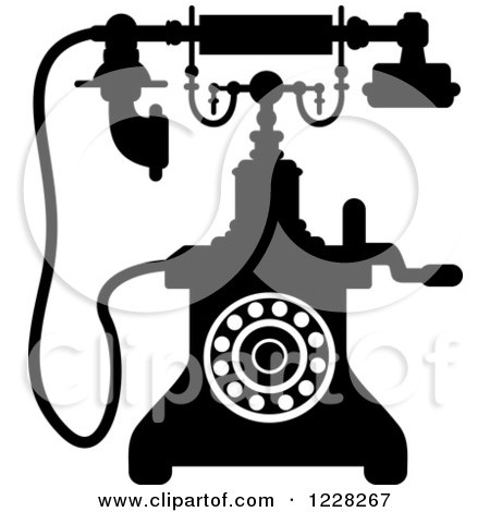 Clipart of a Retro Black and White Desk Telephone 5 - Royalty Free Vector Illustration by Vector Tradition SM