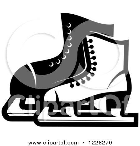 Clipart of Black and White Ice Skates - Royalty Free Vector Illustration by Vector Tradition SM