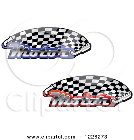 Clipart of Checkered Racing Flags with the Word Motor and Mufflers - Royalty Free Vector Illustration by Vector Tradition SM