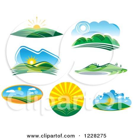 Clipart of Summer Landscapes - Royalty Free Vector Illustration by Vector Tradition SM