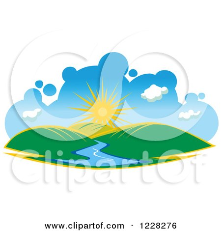 Clipart of a Summer Sun over Hills and a River - Royalty Free Vector Illustration by Vector Tradition SM