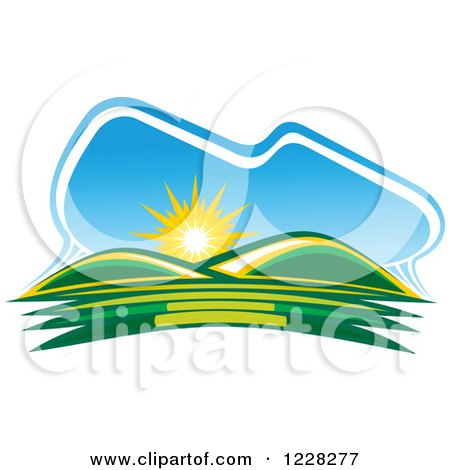 Clipart of a Summer Sunrise over Green Hills - Royalty Free Vector Illustration by Vector Tradition SM
