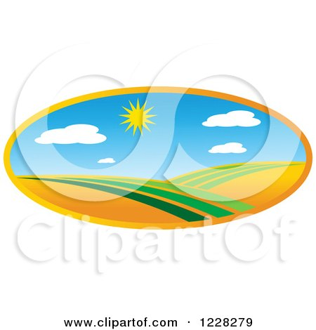 Clipart of a Summer Sun over a Green Landscape - Royalty Free Vector Illustration by Vector Tradition SM