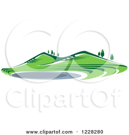 Clipart of a Summer Landscape with Hills and a Pond - Royalty Free Vector Illustration by Vector Tradition SM