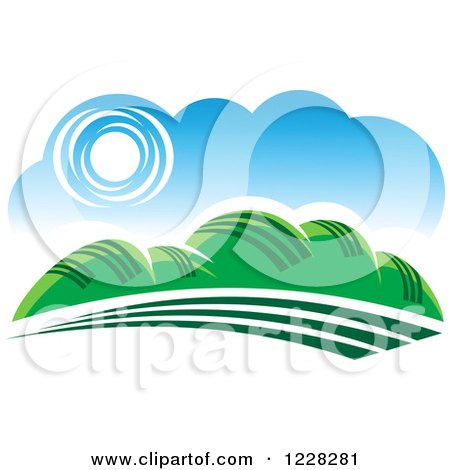 Clipart of a Summer Landscape with Hills - Royalty Free Vector Illustration by Vector Tradition SM
