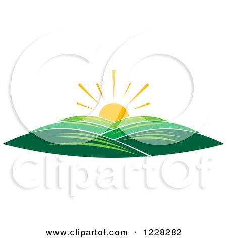 Clipart of a Summer Sunrise over Hills - Royalty Free Vector Illustration by Vector Tradition SM