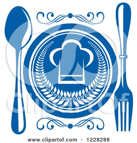 Clipart of a Blue and White Chef Hat Plate and Silverware - Royalty Free Vector Illustration by Vector Tradition SM