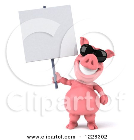 Clipart of a 3d Pink Pig Wearing Sunglasses and Holding a Sign - Royalty Free Illustration by Julos