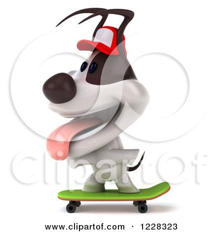 Clipart of a 3d Skateboarding Jack Russell Terrier Dog Wearing a Hat 3 - Royalty Free Illustration by Julos