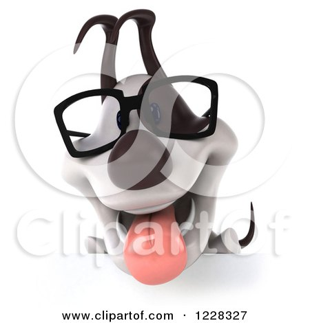 Clipart of a 3d Bespectacled Jack Russell Terrier Dog over a Sign - Royalty Free Illustration by Julos