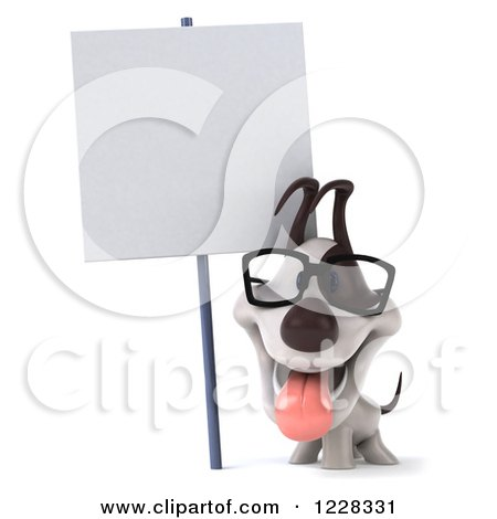 Clipart of a 3d Bespectacled Jack Russell Terrier Dog with a Sign - Royalty Free Illustration by Julos