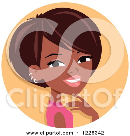 Clipart of a Young Black Woman with Short Hair Avatar - Royalty Free Vector Illustration by Monica