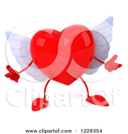 Clipart of a 3d Shrugging Red Winged Heart - Royalty Free Illustration by Julos
