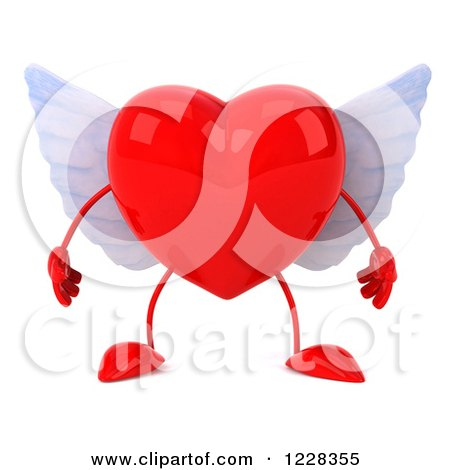 Clipart of a 3d Red Winged Heart - Royalty Free Illustration by Julos