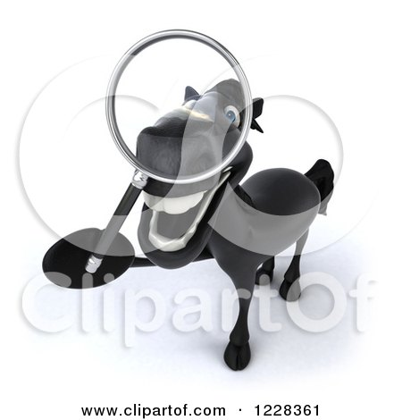 Clipart of a 3d Black Horse Using a Magnifying Glass - Royalty Free Illustration by Julos