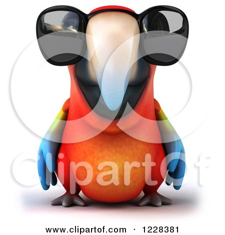 Clipart of a 3d Macaw Parrot Wearing Sunglasses - Royalty Free Illustration by Julos