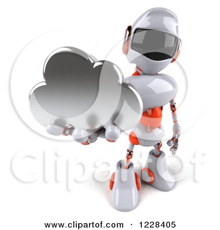 Clipart of a 3d White and Orange Male Techno Robot Holding a Cloud - Royalty Free Illustration by Julos