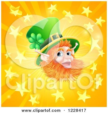 Clipart of a Happy St Patricks Day Leprechaun over a Star Burst - Royalty Free Vector Illustration by AtStockIllustration