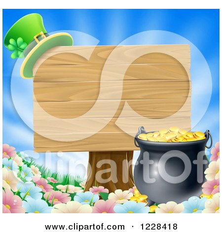 Clipart of a St Patricks Day Leprechaun Hat on a Wooden Sign over a Pot of Gold and Flowers - Royalty Free Vector Illustration by AtStockIllustration