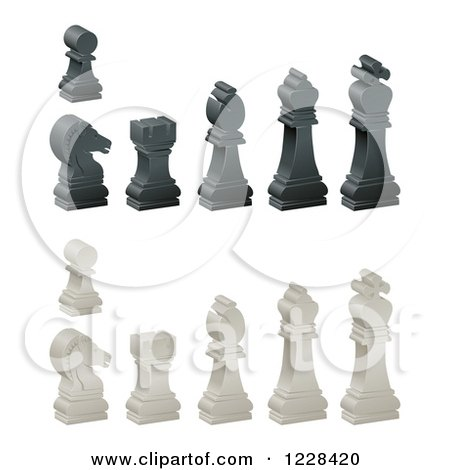 Clipart of 3d Ebony and Ivory Chess Pieces - Royalty Free Vector Illustration by AtStockIllustration