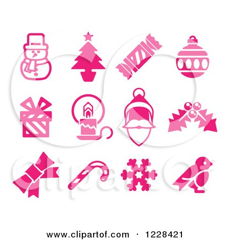 Clipart of Pink Christmas Item Icons - Royalty Free Vector Illustration by AtStockIllustration