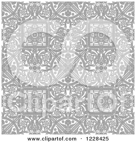 Clipart of a Grayscale Seamless Intricate Middle Eastern Motif Background Pattern - Royalty Free Vector Illustration by AtStockIllustration