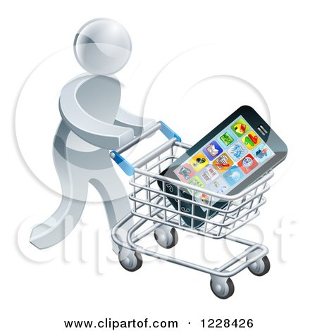 Clipart of a 3d Silver Man Pushing a Smart Phone in a Shopping Cart - Royalty Free Vector Illustration by AtStockIllustration