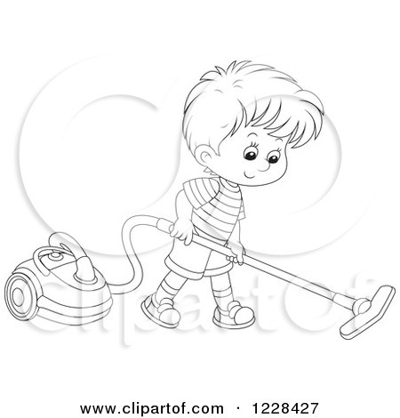 Clipart of an Outlined Boy Using a Canister Vacuum ... Vacuum Clipart Black And White
