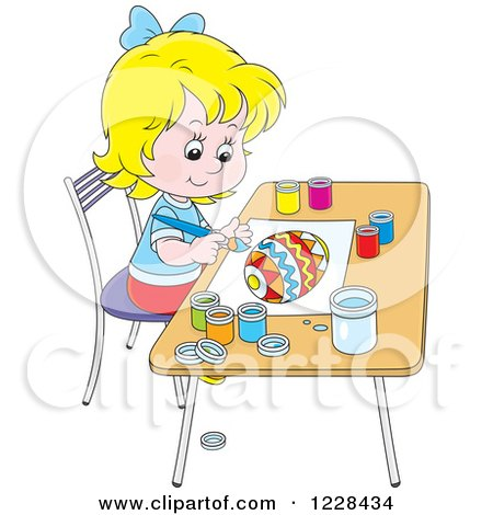 Clipart of a Happy Blond Girl Painting an Easter Egg - Royalty Free Vector Illustration by Alex Bannykh